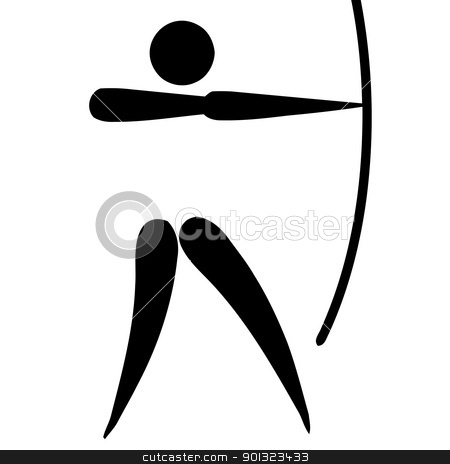 Archery sign stock photo, Black silhouetted archery sign or symbol; isolated on white background. by Martin Crowdy