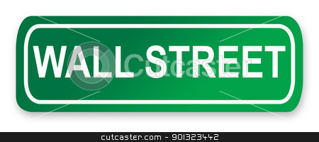 Wall Street road sign stock photo, Wall Street road sign in green, New York City, America. by Martin Crowdy