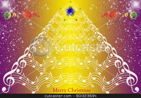 Christmas decoration background stock vector clipart, Christmas decoration background with music notes and snowflakes by Ingvar Bjork