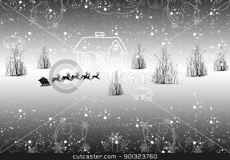 Winter landscape stock vector clipart, Beautiful winter landscape with snowflakes and trees by Ingvar Bjork