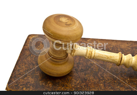 Old book and gavel  stock photo, Old book and gavel isolated on white background 