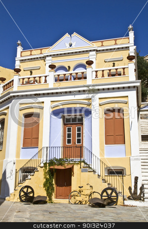 Traditional greek houses stock photo, Traditional greek houses in symi island by Ingvar Bjork