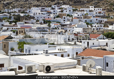 Traditional greek white houses  stock photo, Beautiful white houses in Lindos of Rhodes Island , Greece by Ingvar Bjork