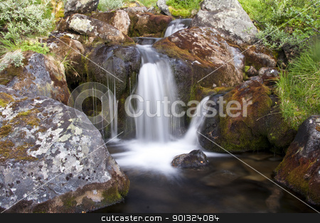 Mountain stream stock photo, Beautiful mountain stream and rocks closeup by Ingvar Bjork