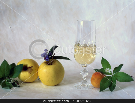 Wind and fruits stock photo, A glass of white wine with fruits isolated on painted background by Ingvar Bjork