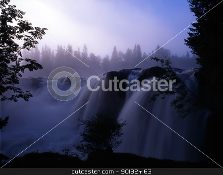 waterfall in fog mountain stock photo, Beautiful waterfall in fog mountain  by Ingvar Bjork