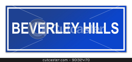 Beverley Hills street sign stock photo, Beverley Hills street sign isolated on white background with copy space. by Martin Crowdy