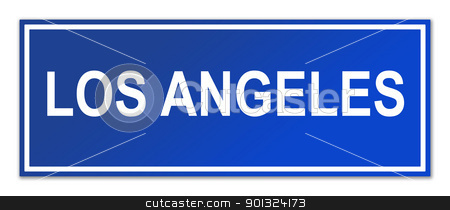 Los Angeles street sign stock photo, Los Angeles city street sign isolated on white background with copy space. by Martin Crowdy