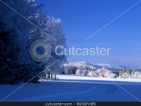 White snow and blue sky stock photo, Beautiful winter landscape with white snow and blue sky by Ingvar Bjork