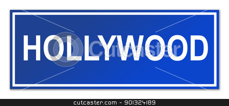 Hollwwood street sign stock photo, Hollywood street sign isolated on white background with copy space. by Martin Crowdy