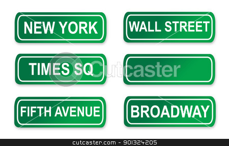 New York Street signs stock photo, Set of famous New York City street signs; isolated on white background. by Martin Crowdy