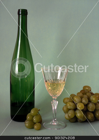 wine,glass and grapes stock photo, Wine,glass and frapes isolated on green background by Ingvar Bjork