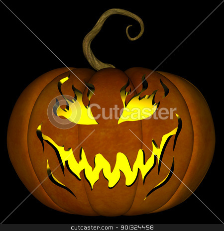 Halloween Jack O Lantern 06 stock photo, A illustration of a spooky Halloween jack o lantern, isolated on a black background. by Randall Reed