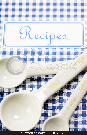 cookbook and kitchenware  stock photo, Blue cookbook and kitchenware  by klenova