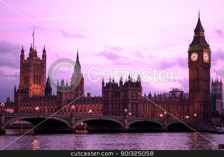 Big Ben at sunset London UK stock photo, Big Ben and Parliament at sunset light by Desislava Dimitrova