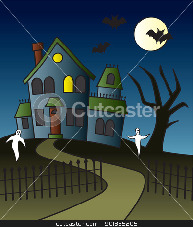 Cartoon Haunted House Scene stock vector clipart, A haunted house with a full moon, bats and ghosts in the front yard. by Jamie Slavy