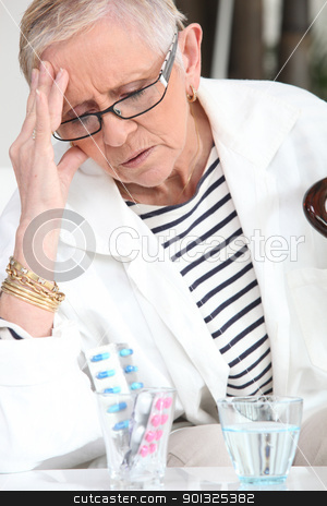 Senior woman taking drugs stock photo, Senior woman taking drugs by photography33
