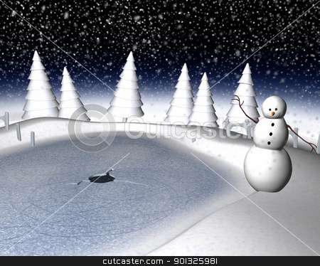 Snowy winter scene stock photo, Computer generated 3d illustration of a snowy winter scene and snowman by Dusan Todorovic