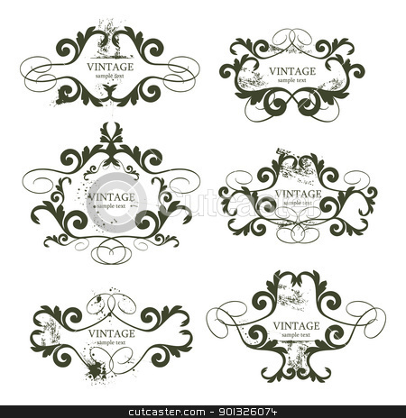 vintage frames stock photo, curly grunge vintage frames - vector illustration by ojal_2