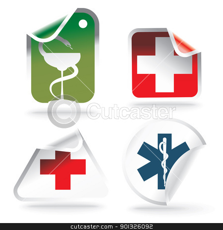 medical symbols on stickers stock photo, medical symbols on stickers - vector illustration by Ilyes Laszlo