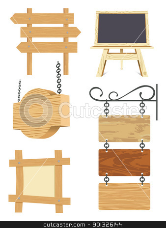 blank wooden signboard collection stock photo, blank wooden signboard collection - vector illustration by Ilyes Laszlo