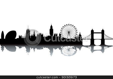 London skyline stock photo, London skyline - black and white vector illustration by Ilyes Laszlo
