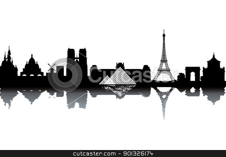 Paris skyline stock photo, Paris skyline - black and white vector illustration by Ilyes Laszlo