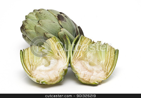 Artichokes. stock photo, Fresh artichokes isolated over a white background. by angelsimon