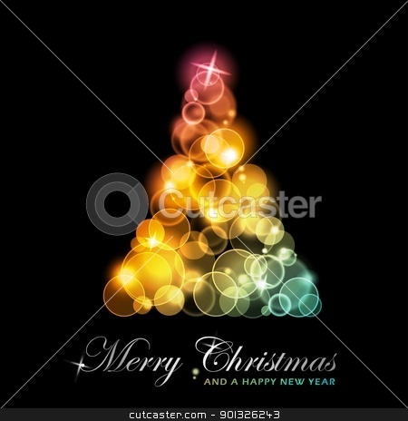 Colorful stylized Christmas tree stock vector clipart, Light dots of in shades of red, yellow, golden to green blue forming a sparkling Christmas tree.