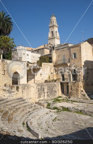 Lecce (Apulia): Roman theatre, ruins stock photo, Lecce (Puglia, Italy): Roman theatre, ruins by clodio