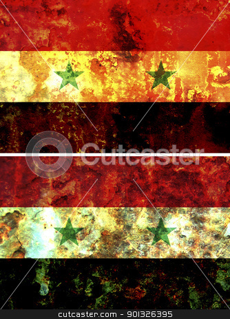 Syria flag stock photo, some very old grunge flag of Syria by michal812