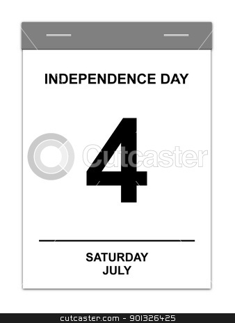 4th July stock photo, Calender showing July 4th Independence Day USA by Henrik Lehnerer