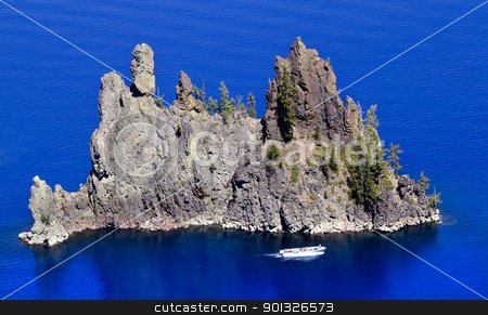 Phantom Ship Island Blue Crater Lake Reflection White Boat Orego stock photo, Blue Crater Lake Reflection Phantom Ship Island White Tourist Boat Oregon Pacific Northwest by William Perry