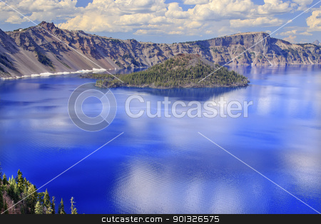 Crater Lake Reflection Wizard Island Clouds Blue Sky Oregon stock photo, Crater Lake Reflection Wizard Island, Clouds Blue Sky Oregon Pacific Northwest by William Perry