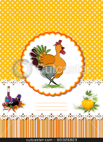 Decorative Thanksgiving Day card stock vector clipart, Decorative card  for Thanksgiving Day with Turkey and room for text. by Richard Laschon