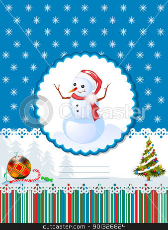 Decorative winter holidays card stock vector clipart, Decorative card  for winter holidays with snowman, Christmas tree, candies and room for text. by Richard Laschon