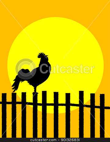 Rooster on the fence stock vector clipart, Rooster silhouette on a fence announcing sunrise by Richard Laschon