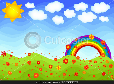 Spring! stock vector clipart, Spring scene with rainbow and flowers. by wingedcats