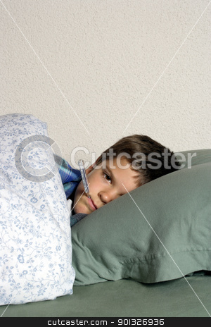 Sick in bed stock photo, Sick child with thermometer, frustrated at his illness, resting in bed. by © Ron Sumners