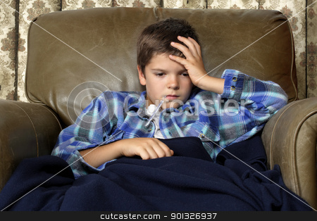 Miserable cold stock photo, Sick child with thermometer, sitting in a big leather chair covered with blankets.  by © Ron Sumners