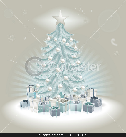 Silver blue Christmas tree, balls and gifts stock vector clipart, Christmas silver blue Christmas tree, balls and gifts. by Christos Georghiou