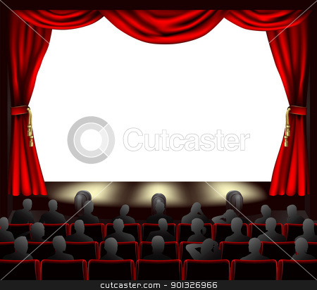 Cinema with audience stock vector clipart, Cinema with curtains and audience. Space to place anything on stage. by Christos Georghiou
