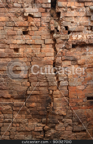 Old brick wall stock photo, Very old background image of a brick wall that is falling apart.  by © Ron Sumners