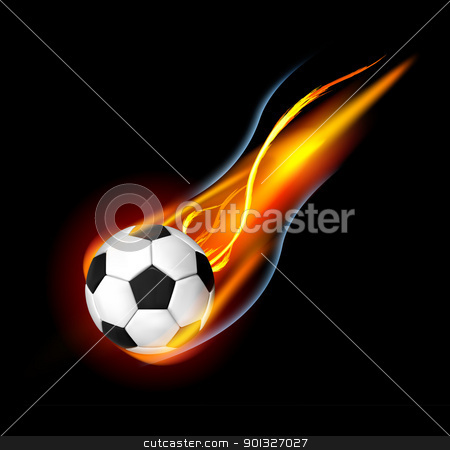 Soccer Ball on Fire stock photo, Soccer Ball on Fire. Illustration on black background by sermax55
