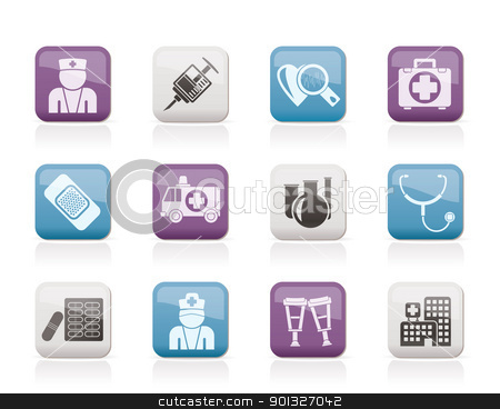 Medicine and healthcare icons  stock vector clipart, Medicine and healthcare icons - vector icon set by Stoyan Haytov