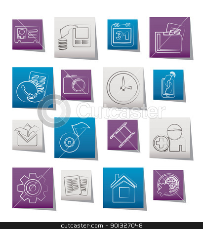 Mobile phone menu icons  stock vector clipart, Mobile phone menu icons - vector icon set by Stoyan Haytov