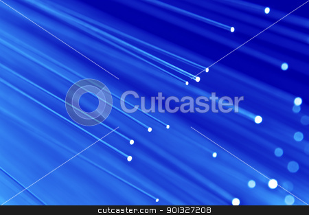 Blue technology background. stock photo, Close up on the ends of a selection of illuminated blue fiber optic light strands with blue background. by Samantha Craddock