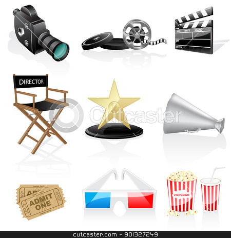 Cinema icons stock vector clipart, Cinema icons isolated on white background by Vladimir Gladcov