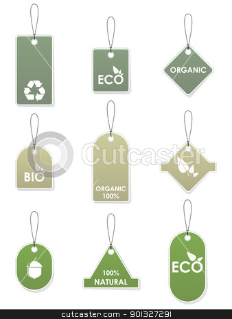Eco recycling tags stock vector clipart, Set of green eco recycling tags isolated on white by Vladimir Gladcov