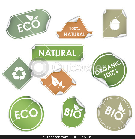 Eco recycling labels stock vector clipart, Set of green eco recycling labels isolated on white by Vladimir Gladcov